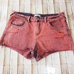 Free people red distressed shorts